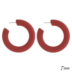 """Chunky solid color matte hoop earring. Approximately 2"""" in diameter and 7mm think."""