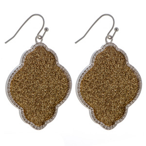 "Fishhook moroccan shape earring with glitter and rhinestone details. Approximately 1.5"" in length."