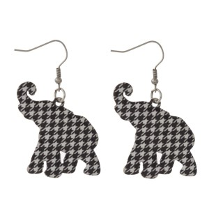 """Silver tone fishhook earring with houndstooth elephant shape. Approximately 1.5"""" in length."""