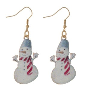 """Fishhook earring with snowman shape. Approximately 1.25"""" in length."""