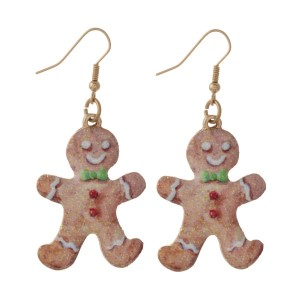 "Fishhook earring with gingerbread man shape. Approximately 1.25"" in length."
