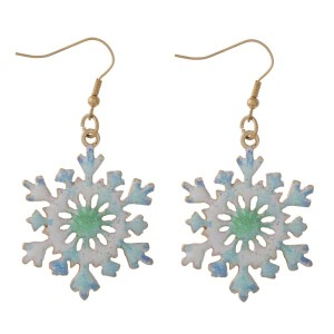 """Christmas fishhook earrings with snowflake detail. Approximately 1"""" in length."""