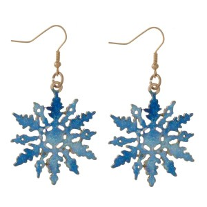 "Christmas fishhook earrings with snowflake detail. Approximately 1"" in length."