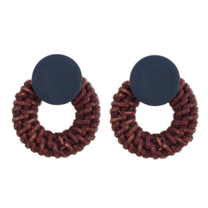 "Wooden stud earring with wicker detail. Approximately 1.5"" in length."