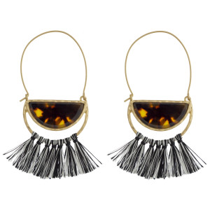 "Gold tone fishhook earring with acetate and tassel detail. Approximately 3"" in length."