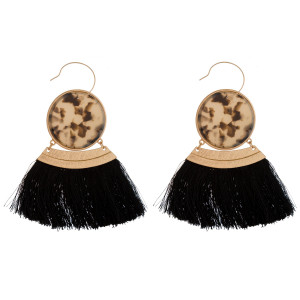"""Gold tone fishhook earring with acetate circle and soft thread tassel. Approximately 3"""" in length."""