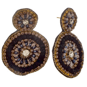 """Short circular earring with rhinestone and rope detail. Approximate 2.0"""" in length."""