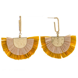 "Enjoy this fanned raffia earring. Approximately 3"" in diameter."