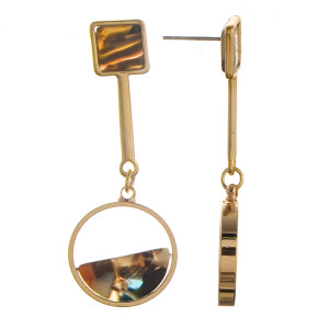 "Long gold metal earring with acetate details. Approximate 2"" in length."