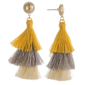 "Long rhinestone tassel earring with multi colors tassels. Approximate 3"" length."