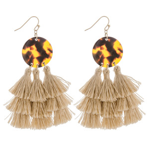 """Long fish hook earring with tassels. Approximate 3"""" in length."""