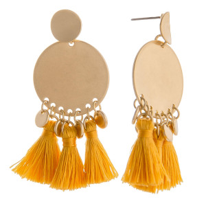 "Short gold earring with short tassels. Approximate 2"" in length."