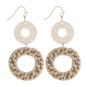 """Fish hook earring with acetate and woven raffia circle detail. Approximate 3"""" in length."""