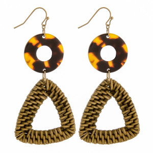 Long earrings with acetate and woven raffia triangle detail. Approximately 2.5 in length.