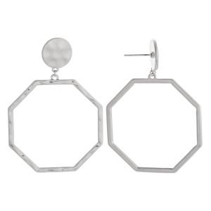 "Nice octagon hoop earrings. Approximate 2"" in length and 1.5 diameter."