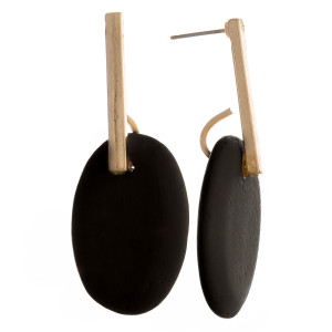 """Enjoy these gorgeous metal and wood earrings. Perfect for everyday wear. Approximate 2"""" in length."""