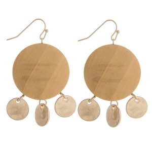 """Enjoy these gorgeous fishhook wood earrings with gold metal charms. Approximate 1"""" in diameter."""