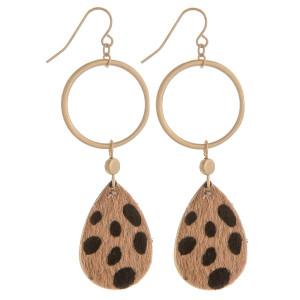 "Gorgeous hoop and teardrop animal print earrings. Approximate 3"" in length."