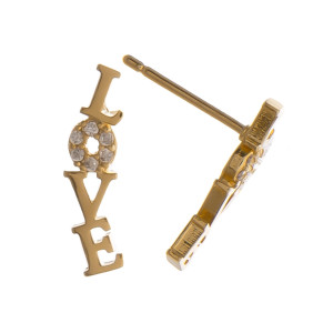 """Gorgeous metal love stud earring. Approximate .5"""" in length."""