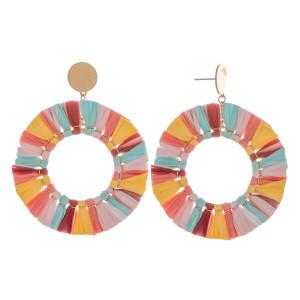 "Long tassel hoop earring. Approximate 2.5"" in length."