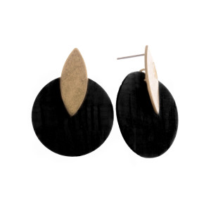 "Short cork earrings with gold post. Approximate 1"" in length."