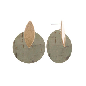 """Short cork earrings with gold post. Approximate 1"""" in length."""