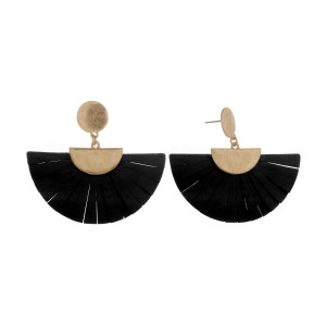 """Short fanned earrings with gold post. Approximate 2"""" in length."""