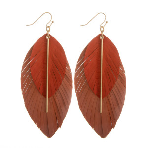 "Gorgeous genuine leather double drop  earring with gold pole detail. Approximate. 3.5"" in length."