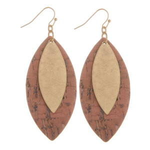 "Long double leaf fish hook cork earrings with metal drop. Approximate 2.5"" in length."