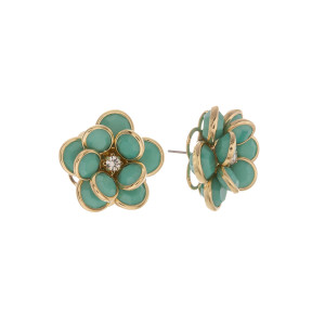 "Short stud flower earring with rhinestone.  Approximate 1"" in length."
