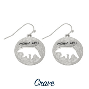 "Round Mama Bear cutout earrings. Approximately 3/4"" tall."