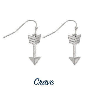 "Dainty arrow drop earrings. Approximately 3/4"" tall"