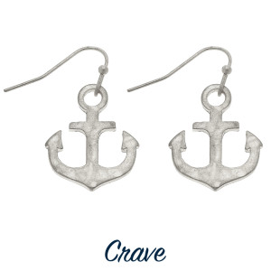 "Delicate hammered metal anchor drop earrings. Approximately 3/4"" tall."