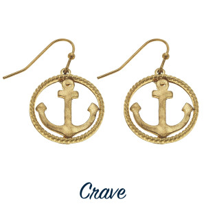 "Delicate round anchor earrings with twisted rope detail. Approximately 3/4"" in diameter."