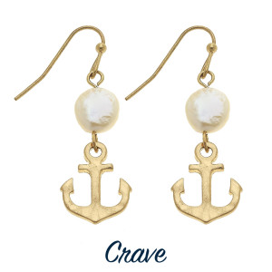 "Dainty anchor and freshwater pearl drop earrings. Approximately 1"" tall."