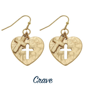 "Heart shaped earrings with cross cutout and charm. Approximately 3/4"" tall."