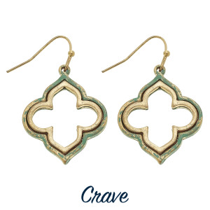 "Nested quatrefoil patina finish earrings. Approximately 1"" tall."