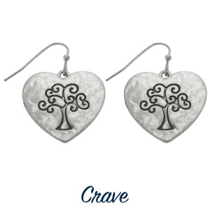 """Heart shaped drop earrings with Tree of Life engraving. Approximately 3/4"""" tall."""