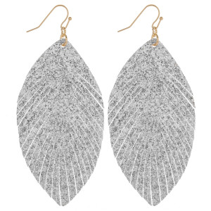 "Gorgeous leather feather glitter earrings. Approximate 3"" in length."
