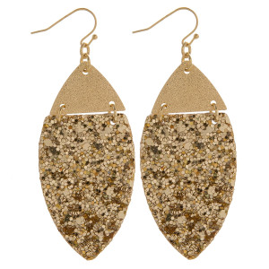 """Gorgeous fishhook leather leaf shaped glitter earrings. Approximate 3"""" in length."""
