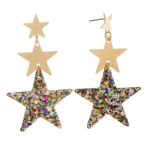 """Gorgeous leather triple star glitter earrings. Approximate 2"""" in length."""