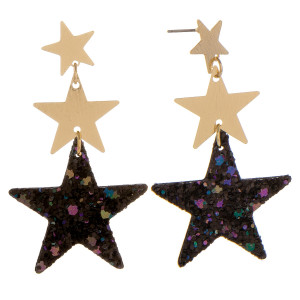 "Long metal and leather earrings with three stars and sequins. Approximately 2"" in length."