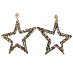 """Gorgeous leather star glitter earrings. Approximate 2"""" in length."""