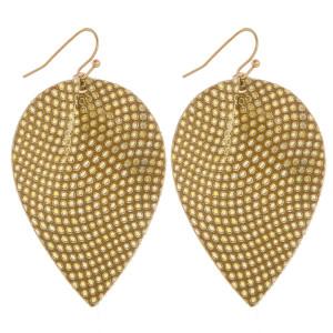 "Long fishhook drop earrings with dot pattern. Approximately 2"" in length."