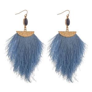 "Long gorgeous fishhook earring with tassels and natural stone details. Approximate 4"" length."