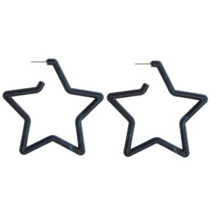 """Long star acetate earring. Approximate 2.5"""" in length."""