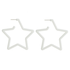 "Long star acetate earring. Approximate 2.5"" in length."