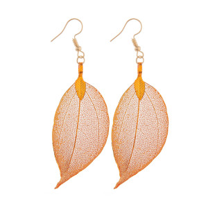 """Long see through leaf metal earring. Approximate 2"""" in length."""
