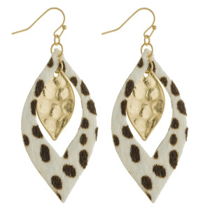 "Long diamond shaped earring with animal print detail. Approximate 2.5"" in length."