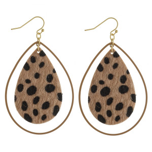 "Long animal print double drop earrings. Approximate 2"" in length."